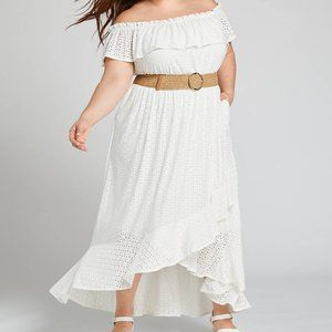 Lane Bryant eyelet off shoulder white dress 18 20